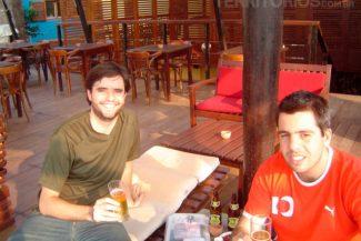 Com Sergei no restaurante Espaço Baía