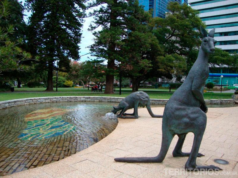 Estátuas de cangurus em City