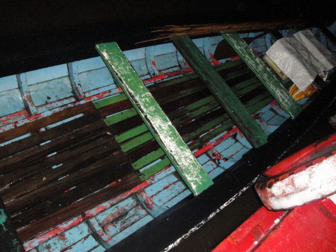 Nossa canoa para caçar jacarés a noite