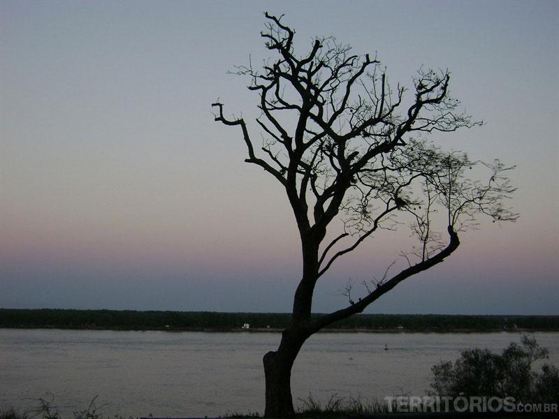 O Rio Paraná e o relevo plano dos Pampas ao fundo