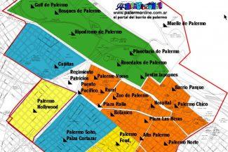 Mapa com os principais Palermos. Mais informações em Palermonline.com.ar