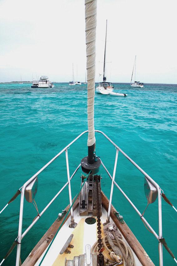 A bordo do veleiro Turpial, ainda ancorados em Gran Roque