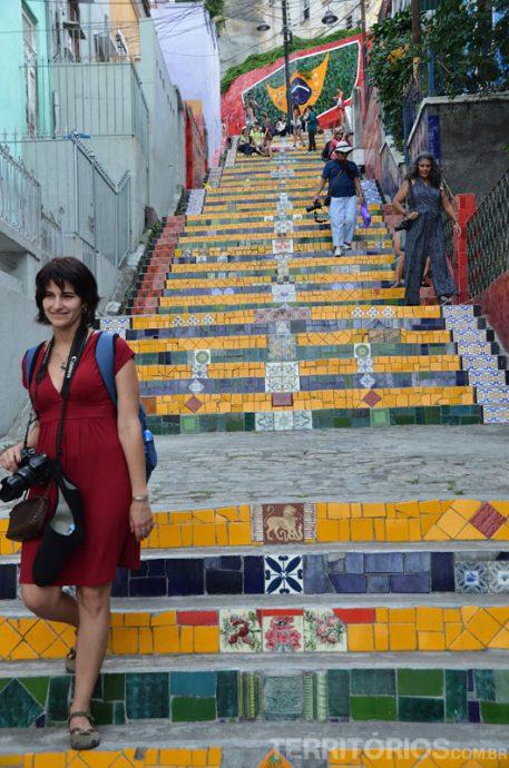 Roberta na Escadaria Selarón, no Estado do Rio de Janeiro