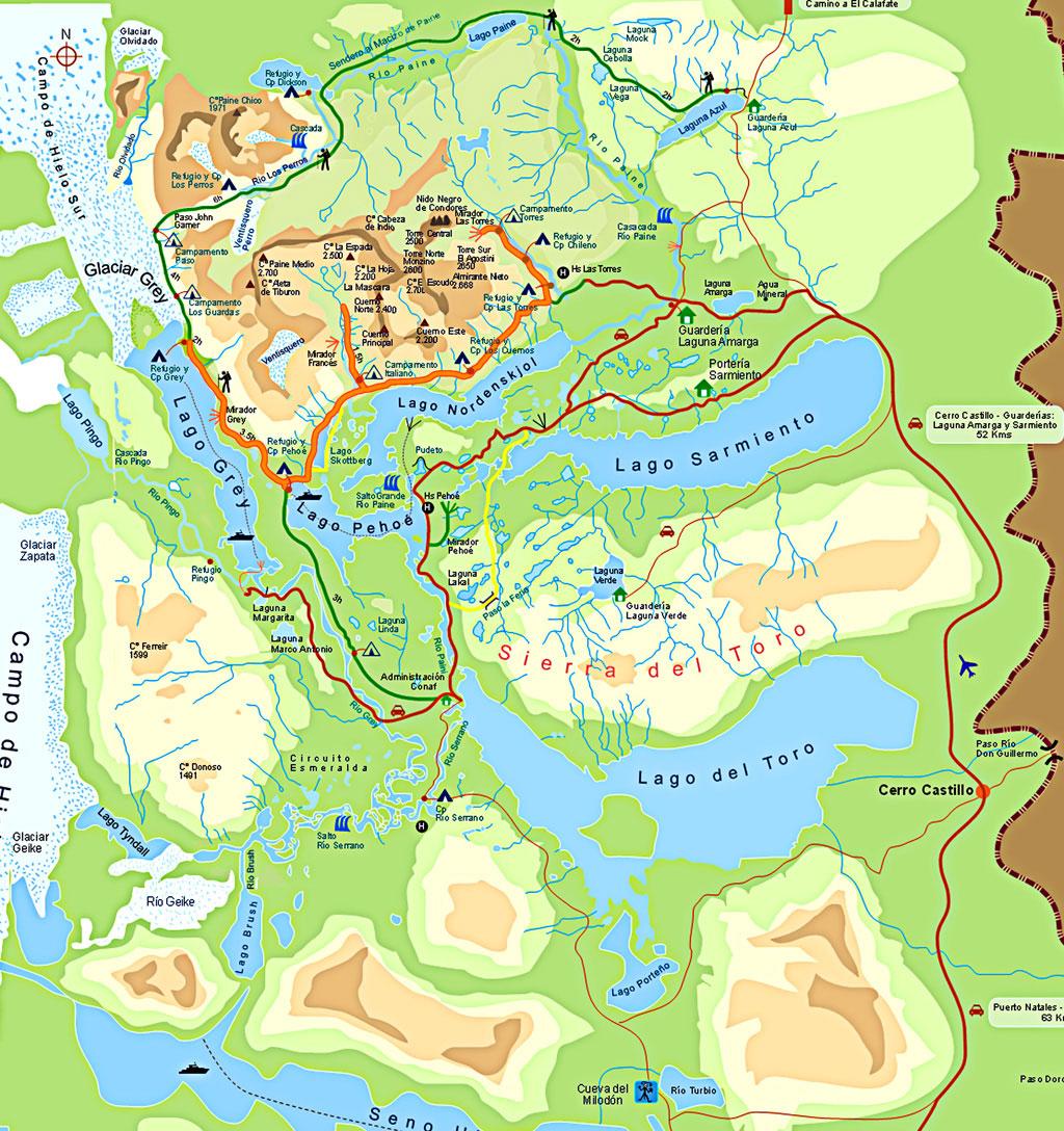 Circuito W Mapa : Mapa torres del paine 3709 » por ro martins e viajantes