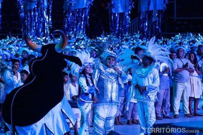 O início do espetáculo com o Boi (Marquinhos Azevedo) e o Levantador de Toadas (David Assayag)