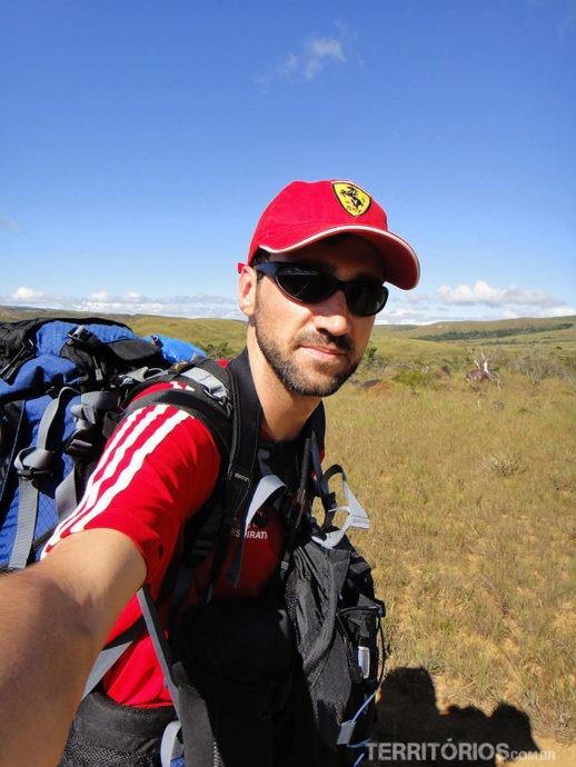 Leandro no início da caminhada