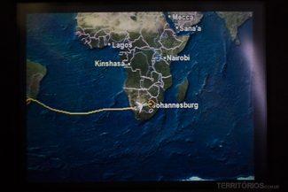 Trajeto na tela do avião