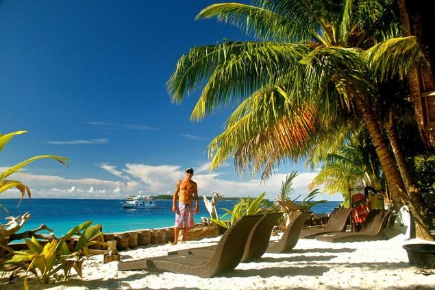 Um dos poucos resorts do arquipélago