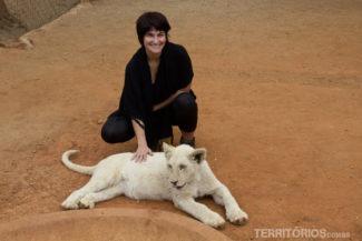 Pra chegar perto assim de leão, só em zoológico. Mas só recomendo para filhotes e em estabelecimentos comprometidos com o bem estar dos animais porque é triste vê-los sedados. Filhote de leão albino