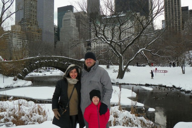 Daniela e a família em Nova York
