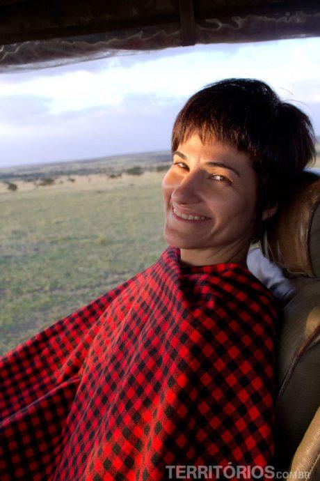 Me esquentando com o cobertor Masai