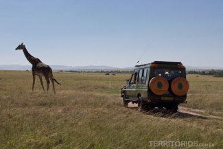 Veículo atrás da girafa em Maasai Mara