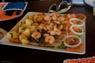 Camarões com peixe deliciosos