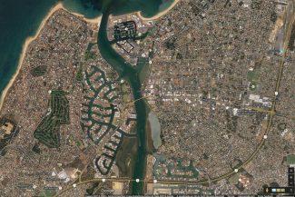 Mapa dos canais de Mandurah (Google Maps)
