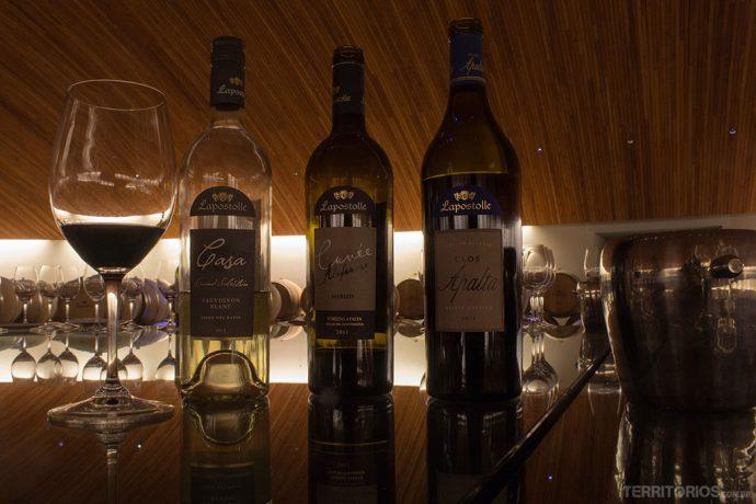 Vinhos servidos na degustação