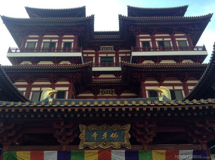 Fachada do Buddha Tooth Relic Temple and Museum, o temple budista de Singapura