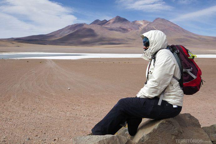 Vestida para os dias mais frios com a mochila Transalpina 26 SL