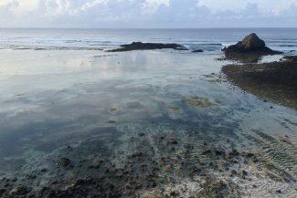 Maré baixa mostra paisagem diferente nas primeiras horas do dia em Lombok
