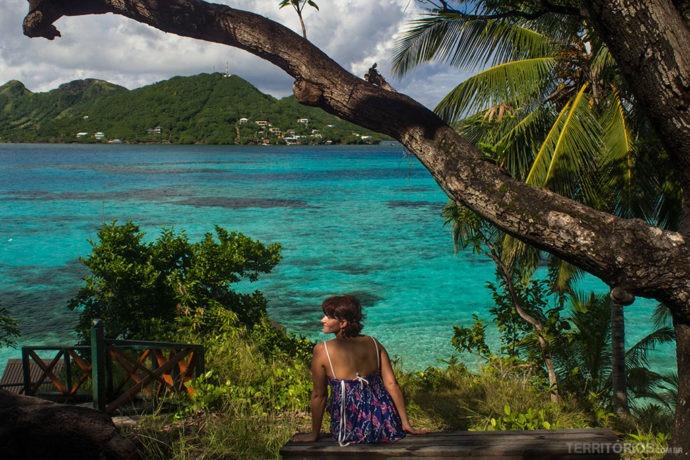 Eu em Crab Cay (Cayo Cangrejo), Providência, curtindo o visual mais bonito de toda a viagem