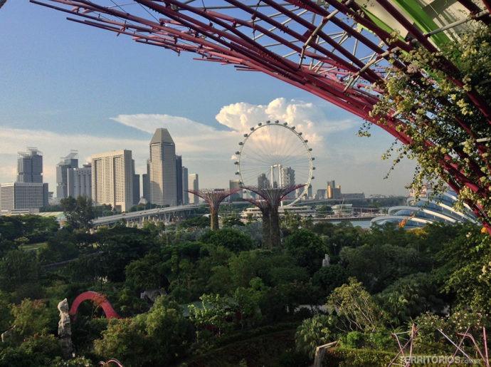 Moderna Singapura vista do Gardens by the Bay, Marina Bay