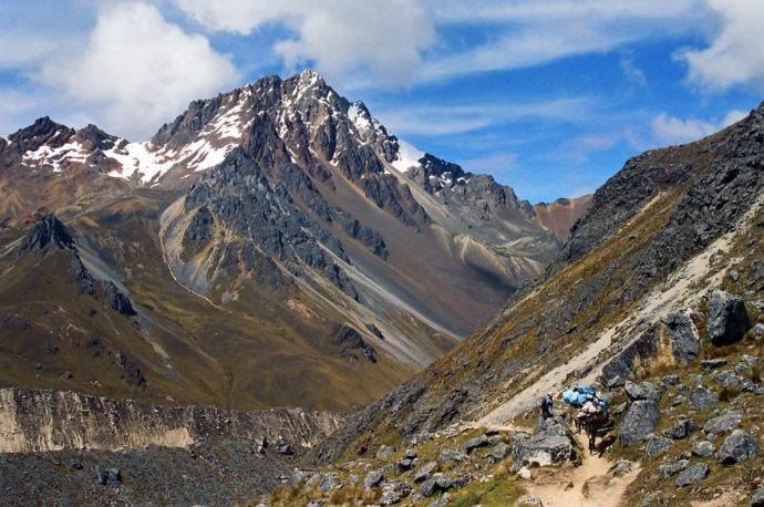 Mulas carregam a bagagem dos caminhantes na trilha Inca Salkantay, Cusco - Peru