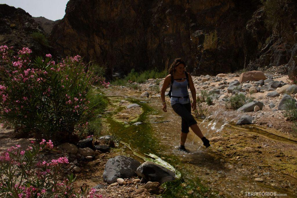 Água refrescante na trilha
