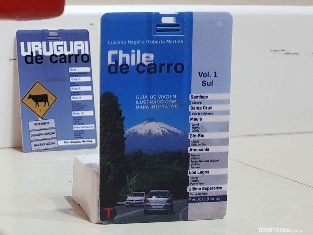 Mini livro Chile de Carro é um pen card