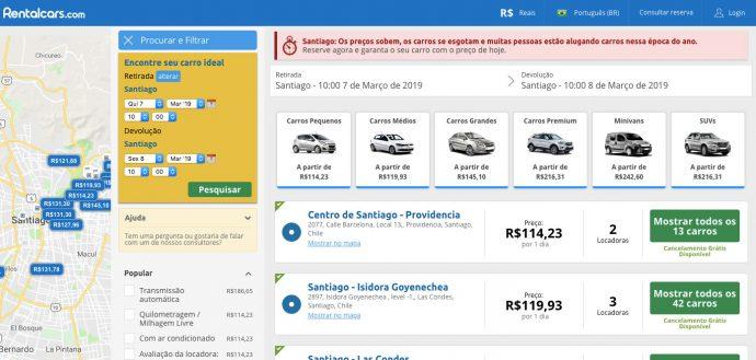 Busca por aluguel de carro em Santiago