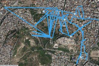 Mapa de Atenas exibe trajeto percorrido em um dia