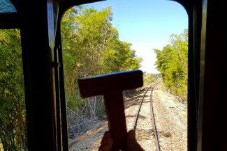 T dentro do trem para Jaguariúna