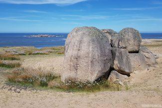 Formações rochosas no caminho para Cabo Polonio
